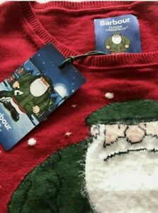 Barbour Red Father Christmas Knitted Jumper Size 18  From The Snowman BNWT