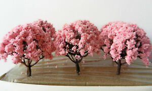 Pink Blossom Model Trees 8 cm x 6 Pcs Scenery For Model Railway HO / OO Scale