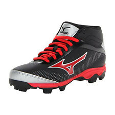 Mizuno Spike Franchise Youth Mid Molded Baseball shoes Cleats Red Black