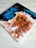 "ACRYLIC PAINTING ORIGINAL ARTWORK 14"" x 14"" CANVAS ABSTRACT ART HOME WALL DECOR"