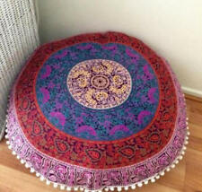 "32"" MANDALA DECORATIVE ROUND FLOOR CUSHION PILLOW POUF COVER INDIAN ART BOHEMIA"