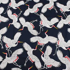plain cloth cotton fabric red-crowned crane printed for clothes by Yard