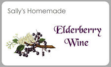 21 x ELDERBERRY WINE LABELS HOMEMADE HOMEBREW DRINK GIFT HAMPER PERSONALISED TAG