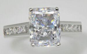 3 ct Radiant Ring Top Russian Quality CZ Imitation Moissanite Simulant SS Sz 9