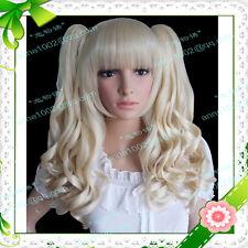 LOLITA Cosplay Fashion Bright blonde Curly Split type heat resistant wig   H209
