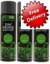 3 x 500ML Zinc Grey Primer For Metal Bodywork and Alloy Wheel Paint Spray