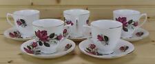 Royal Kent Bone China (5) Cup & Saucer Sets ROK34 - Pink Roses - England
