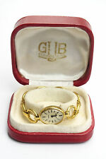 Vintage Women Female Gold Plated GUB Glashutte Wristwatch Original Box Germany