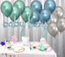 "Pastel Blue ""Baby Boy"" Foil+12 Chrome Metallic Balloons Baby Shower Hand Writing"