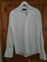 M & S Mens White Double Cuff Evening Shirt Size 15.5 Regular Fit New