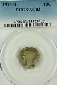 1916-D Mercury Dime : PCGS AG03