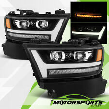 For 2019 2020 Dodge Ram 1500 LED DRL Sequential Projector Black Headlights