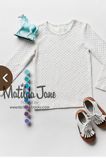 NWT Matilda Jane Girls 4 Paint by Numbers Ivory Connect the Dot Polka Top Shirt