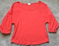 AG Adriano Goldschmied Women's Orange 3/4 Sleeve Blouse Size XS