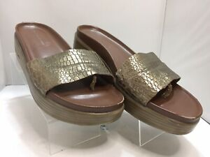 Donald J Pliner Fiji Platform Gold Croc Wedge Sandals Women's Size 8.5 M