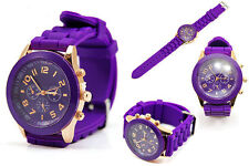 Ladies Fashion Rose Gold Geneva Purple Faced Purple Silicone Band Wrist Watch.