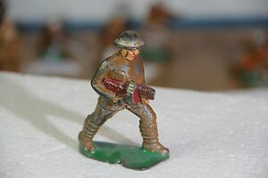 """Lead Soldier Barclay / Manoil No # - Tommy Gun Coat approx 3"""""""