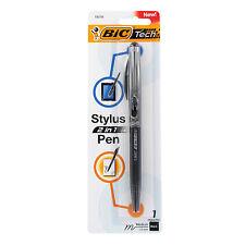 BIC Tech 2 in 1 Retractable Ballpoint Pen & Stylus, Black Ink, Black Barrel