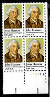 US 1981 Sc# 1941 20 c John Hanson Mint NH Plate Block of 4