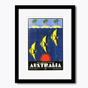 Australia Great Barrier Coral Reef Vintage Wall Art Print Framed Poster Picture