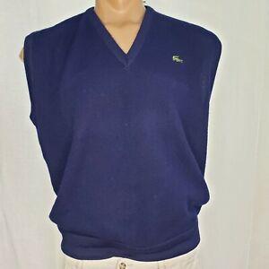 Lacoste XL Vest Men's V Neck Sleeveless Pullover Blue Acrylic USA