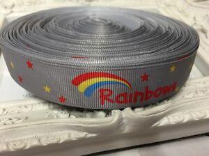 New 1 Metre Rainbows Print Grosgrain Ribbon Designer 22mm Cakes Bow Dummy