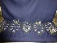 Vintage Lot 5 SETS of Serva Snack Dish Serving Tray Cup by Anchor Hocking Grape