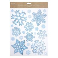 80x Large Christmas Snowflake Window Stickers Glitter Window Clings Reusable