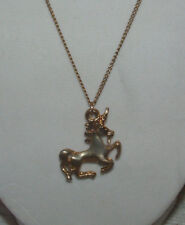 "Unicorn Pendant Gold Tone 16"" Necklace-Nice Details-"