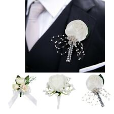 White Ribbon Flower Bud Brooch Wedding Boutonniere Corsage Fake Flower Pin