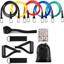 🔥11 PIECE SET RESISTANCE BANDS WORKOUT EXERCISE YOGA CROSSFIT FITNESS TUBES NEW