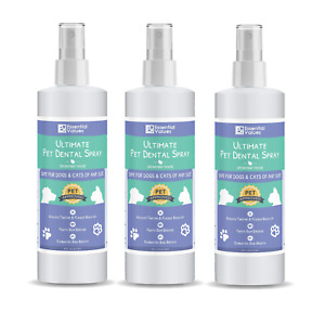 Essential Values 3 Pack (8 Fl OZ) Pet Dental Spray & Water Additive for Dogs and