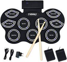 Roll Up Trommel mit 9 Pads E-Drum LED Elektronisches Schlagzeug Trommelstöcke