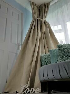 """100% Irish Linen Weighted Interlined Curtains 113"""" Long x 110"""" Wide"""