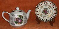 Vintage Victorian Man & Women Teapot Bonus Classica 22 Carat Gold Saucer