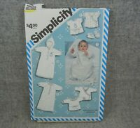 Simplicity 6259 Infant Newborn Layette Sacque Booties Gown Bunting Blanket Toy A