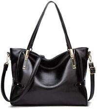 Women PU Leather Black Handbag Large Capacity Top Handle Shoulder Strap Tote Bag