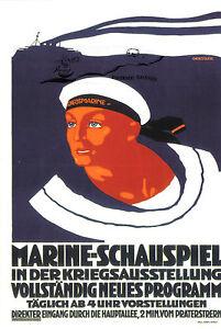 """Kunstkarte: Plakat """"Marine-Schauspiel in der Kriegsausstellung Wien"""" Wien 1916"""