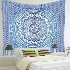 Indian Blue Mandala Tapestry Bohemian Hanging Beach Hippie Throw Rug Blanket