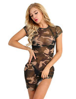 Women Camouflage Bodycon Mesh Evening Cocktail Party Short Sleeve Mini Dress
