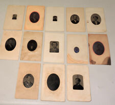 Tintype Misc Portraits Men - Lot Of 13, 1/16 Plates