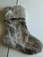 Barnes Noble Christmas Stocking Luxe Soft Faux Fur Marble Gray by 8 Oak Lane