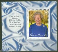 Queen Elizabeth II 75th Birthday mnh Souvenir Sheet 2001 Gibraltar #880