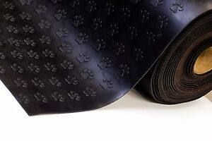 3MM Rubber Flooring Matting Heavy Duty Black Mat Anti Slip Garage PAW PRINT