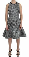NWT $800 Koonhor Silver Metallic Jaquard Fluted Hem Dress Shift Sheath IT40/US 6