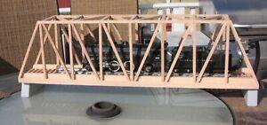 """S Gauge handmade (USA) oak thru truss bridge 24"""" long for American Flyer etc."""