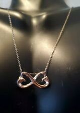 "Beautiful Sterling Silver 925 Double Heart 18"" Necklace. Sister Written On Back"
