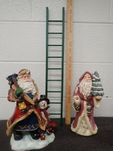 """lot of 2 large Santa Claus Figurines and a 24"""" green Wood Ladder Holiday Decor"""
