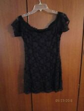 Black Lace Sexy Night Gown Slip Dress Sz Small Bust 34 35 Length 27 inches