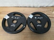 "x2 25 LB CAP 2"" Olympic Hole Iron GRIP Weight Plates Pair Set of Two 50lbs Total"